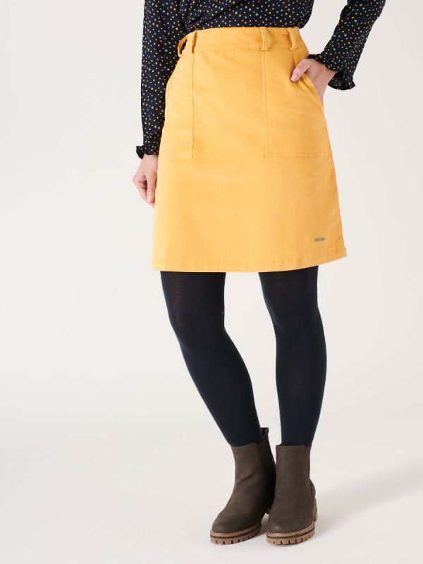 Maple YELLOW Cord Skirt | Quba & Co