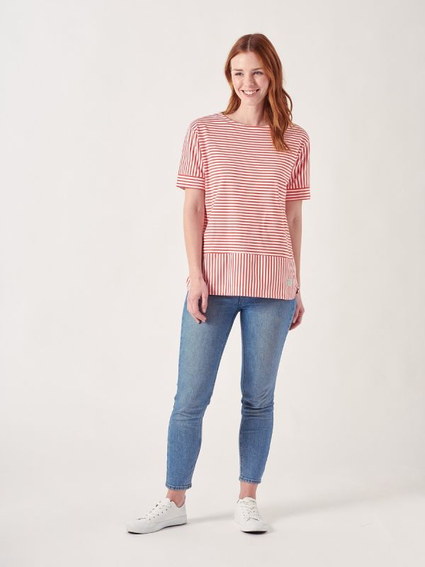 Addison RED Stripe T-Shirt | Quba & Co