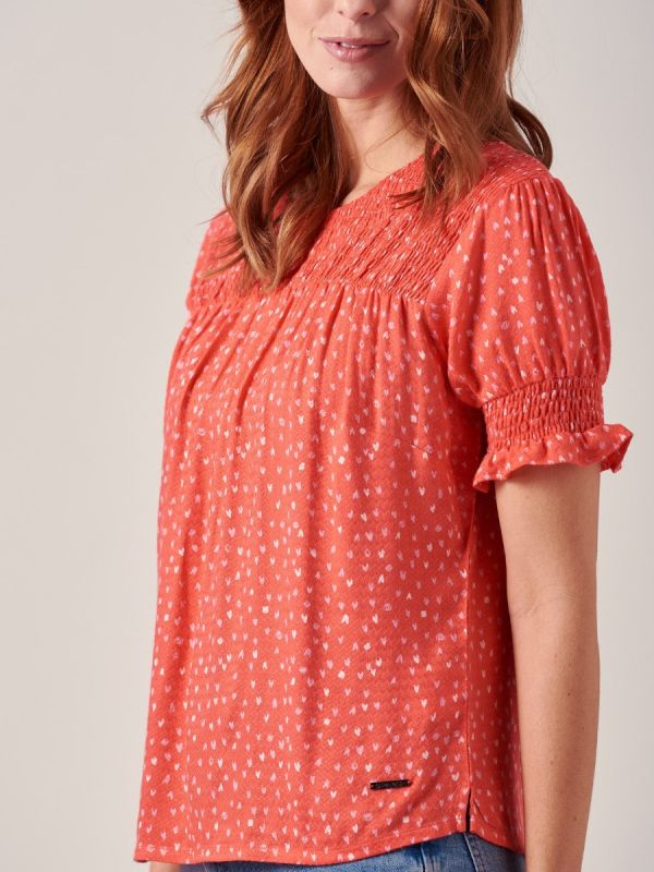 Alona RED Woven Top | Quba & Co