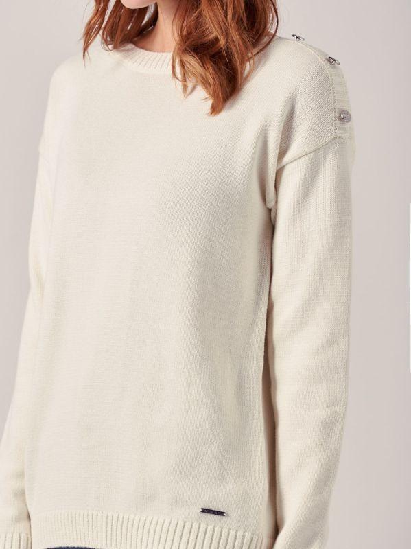 Angelina CLOUD WHITE Boatneck Jumper | Quba & Co