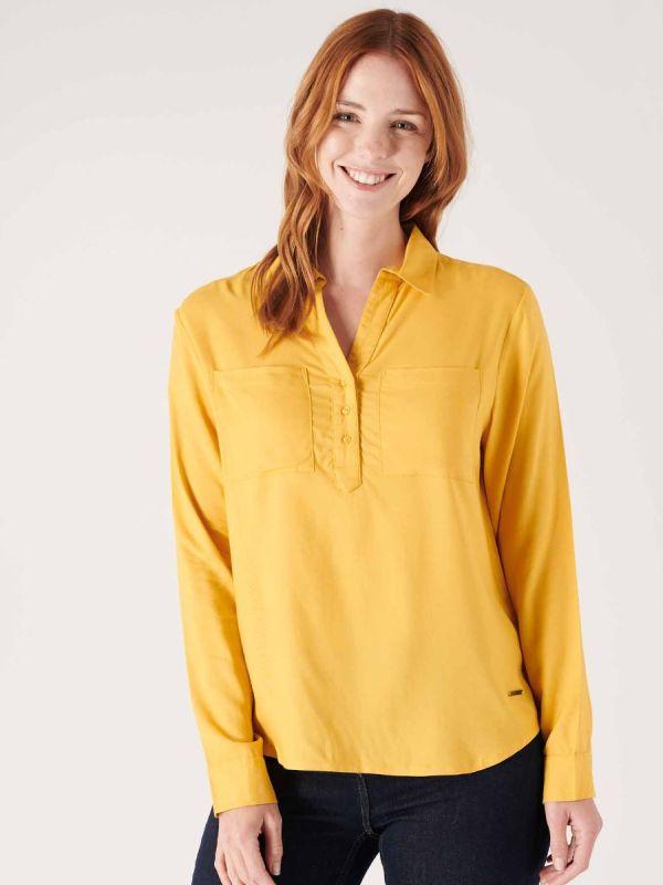 Ladies yellow shirt made by Quba & co, sailing clothing apparel.