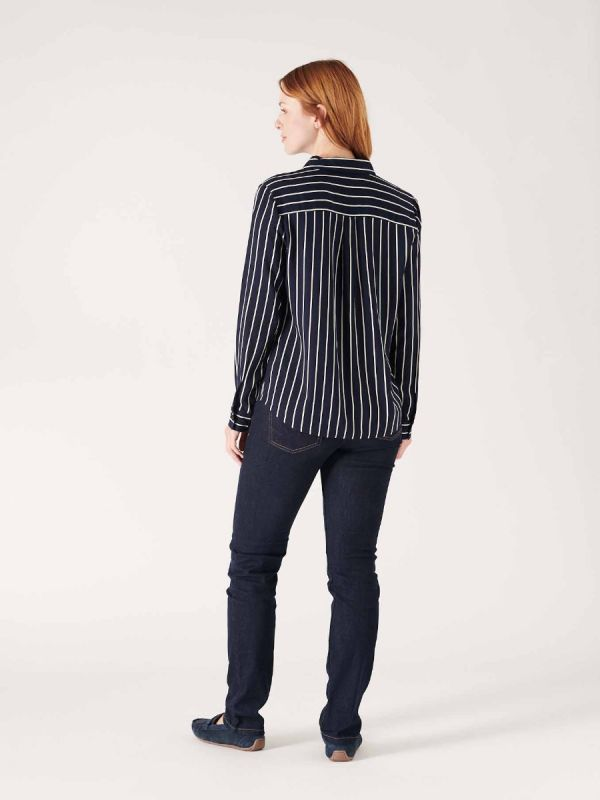 Quba & Co female navy blue striped shirt