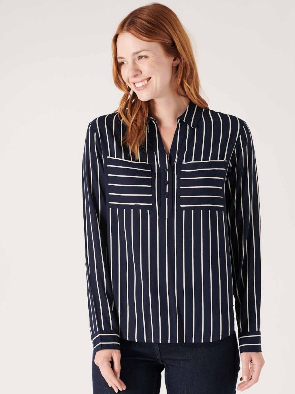 Womens stripey shirt in navy and white from Quba & Co