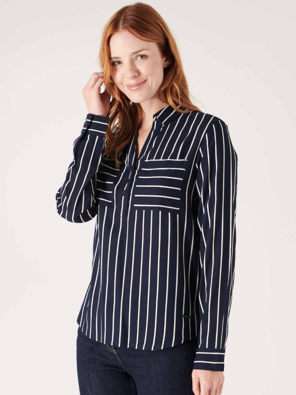 Ladies striped navy and white shirt for smart casual dress sense from Quba & Co