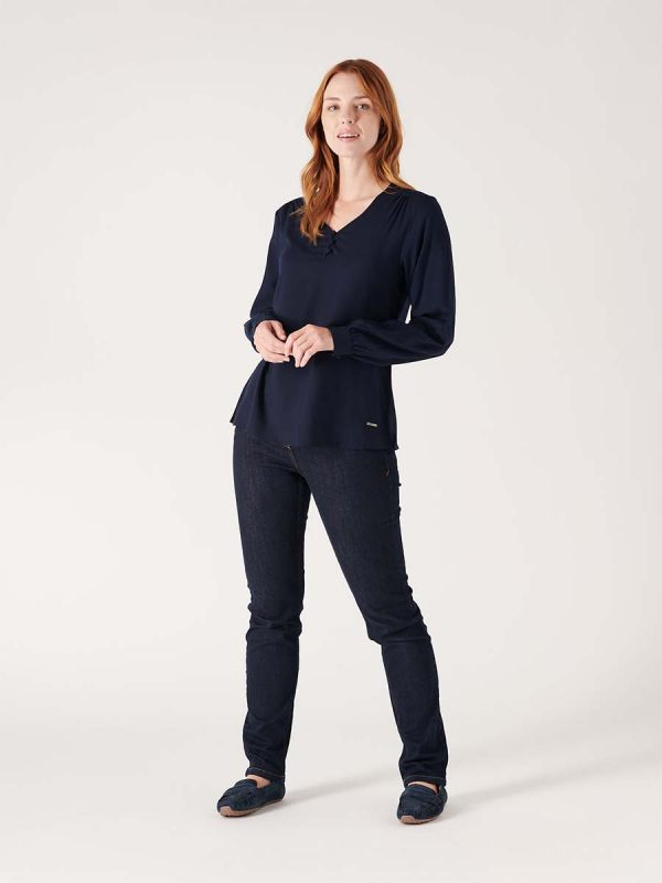 Female navy blue blouse shirt for smart casual wear made by Quba & Co