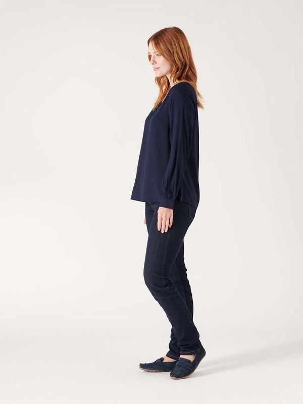 Womens navy blue blouse shirt for smart casual wear