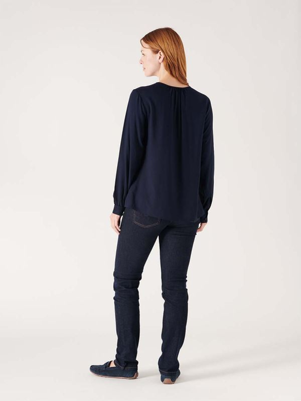 Female navy blue blouse shirt for smart casual wear