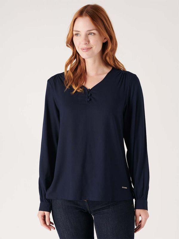 Quba & Co Womens navy blue blouse shirt for smart casual wear