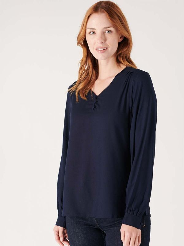 Ladies navy blue blouse shirt for smart casual wear made by Quba & Co