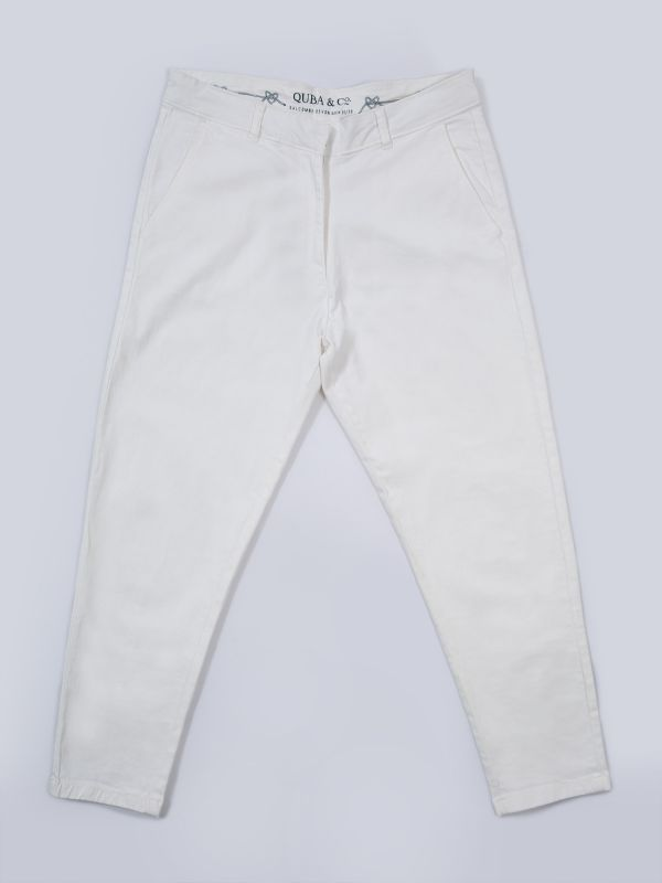 Baswood WHITE Twill Trousers | Quba & Co