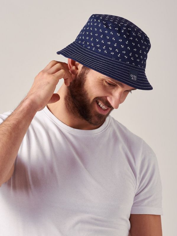 Bellagio NAVY Reversible Bucket Hat   Quba & Co