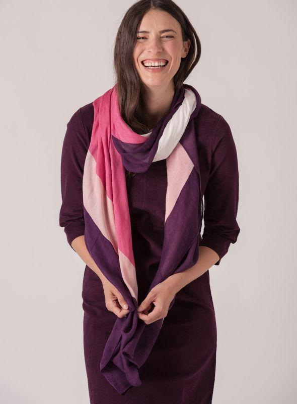 Bernice Stripe Woven Scarf - Purple/Pink/White