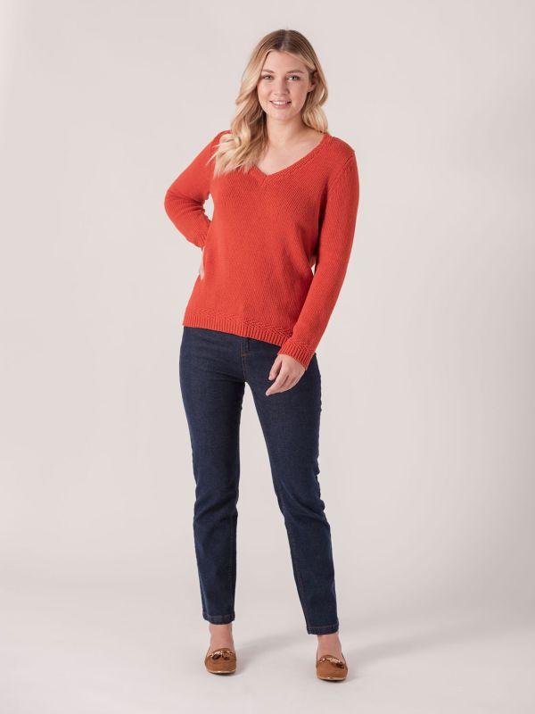 Bondil V Neck Jumper  - Marmalade Orange   Quba & Co Knitwear