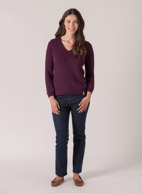 Bondil V Neck Jumper  - Purple Berry   Quba & Co Knitwear
