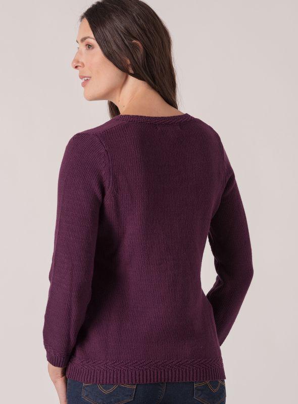 Bondil V Neck Jumper  - Purple Berry