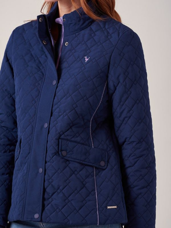 Brisa NAVY Quilted Jacket | Quba & Co