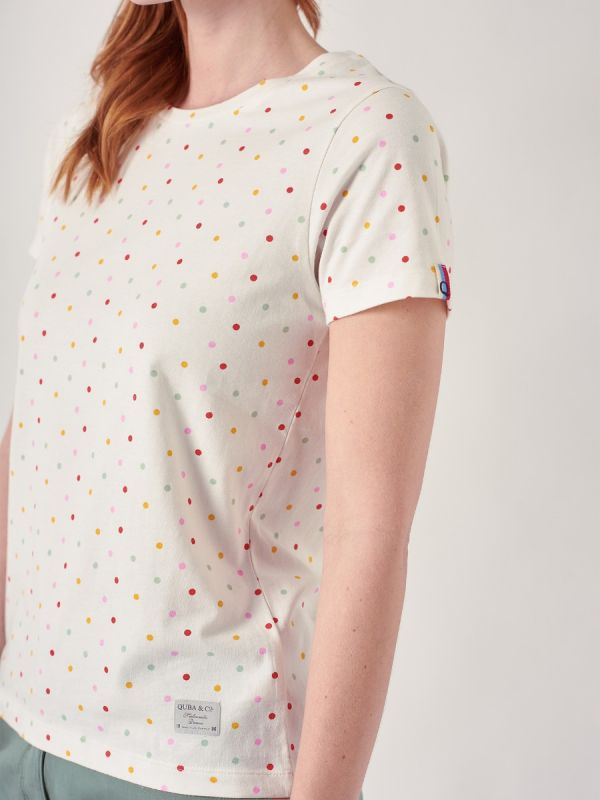 Callie WHITE Spot T-Shirt   Quba & Co