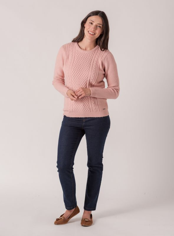 Carin Ribbed Cable Jumper - Pale Pink | Quba & Co Knitwear