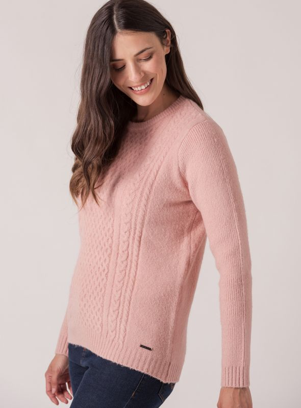 Carin Ribbed Cable Jumper - Pale Pink