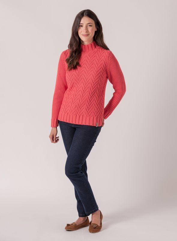 Celeste Textured Knit Jumper - Spiced Coral