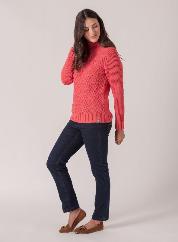 Celeste Textured Knit Jumper - Spiced Coral | Quba & Co Knitwear