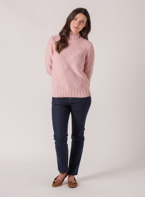 Cissy Chunky Cable Jumper - Pale Pink | Quba & Co Knitwear
