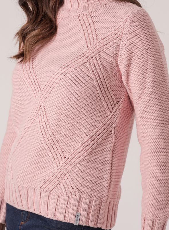 Cissy Chunky Cable Jumper - Pale Pink