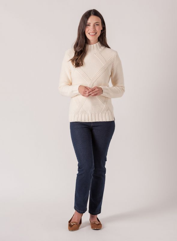 Cissy Chunky Cable Jumper - Frost | Quba & Co Knitwear