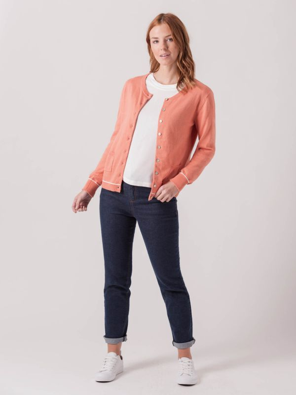 Clematis CORAL PINK Button Cardigan   Quba & Co