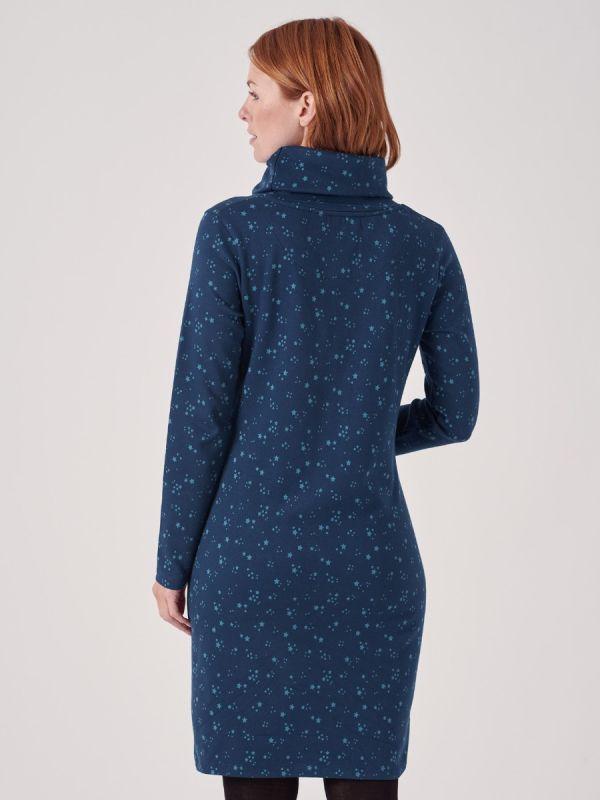 Clemence TEAL Cowl Neck Jersey Dress | Quba & Co