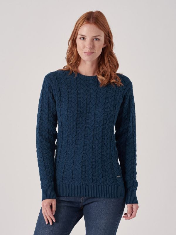Coralie DARK TEAL Cable Knit Jumper | Quba & Co