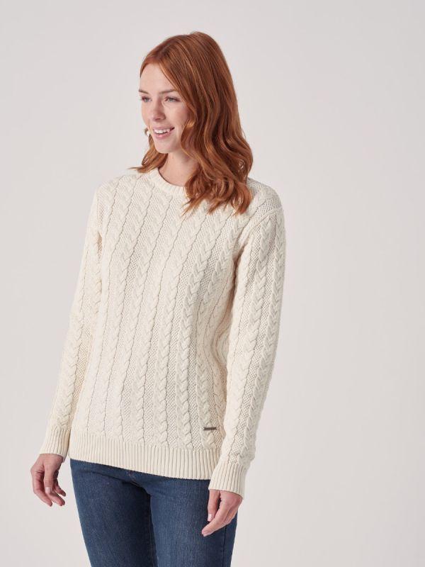 Coralie WHITE Cable Knit Jumper | Quba & Co