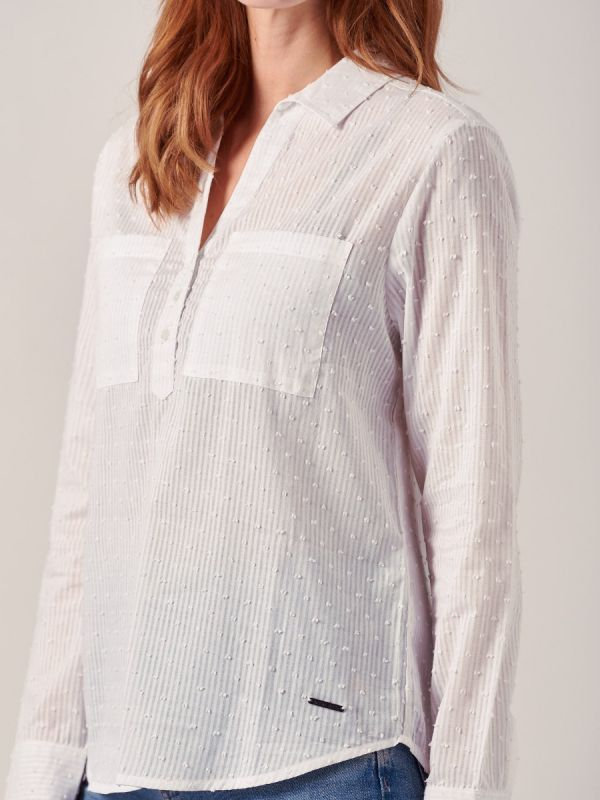 Dotty WHITE Stripe Shirt   Quba & Co
