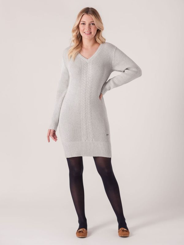 Elisan Ribbed Knitted Dress - Grey Marl | Quba & Co Dresses and Skirts