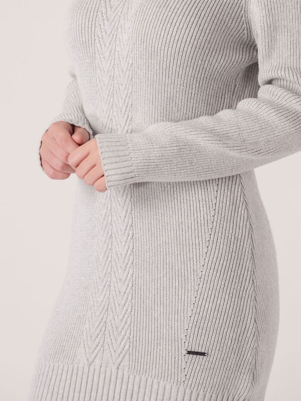 Elisan Ribbed Knitted Dress - Grey