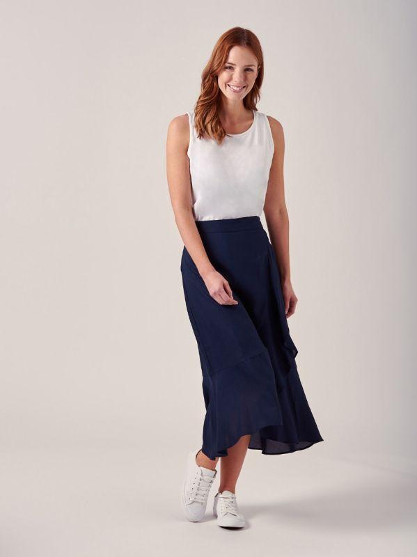 Elsa NAVY Mock-wrap Frill Skirt   Quba & Co
