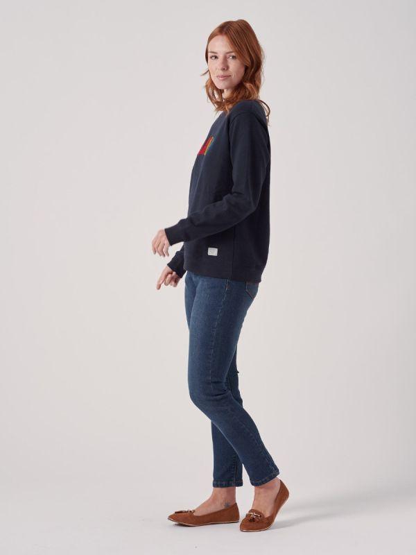 Emelie NAVY Slogan Sweatshirt   Quba & Co