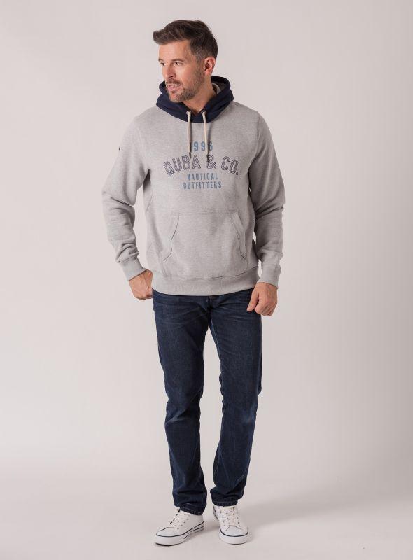 Henrik Contrast Hoodie - Grey Marl | Quba & Co Hoodies and Sweats