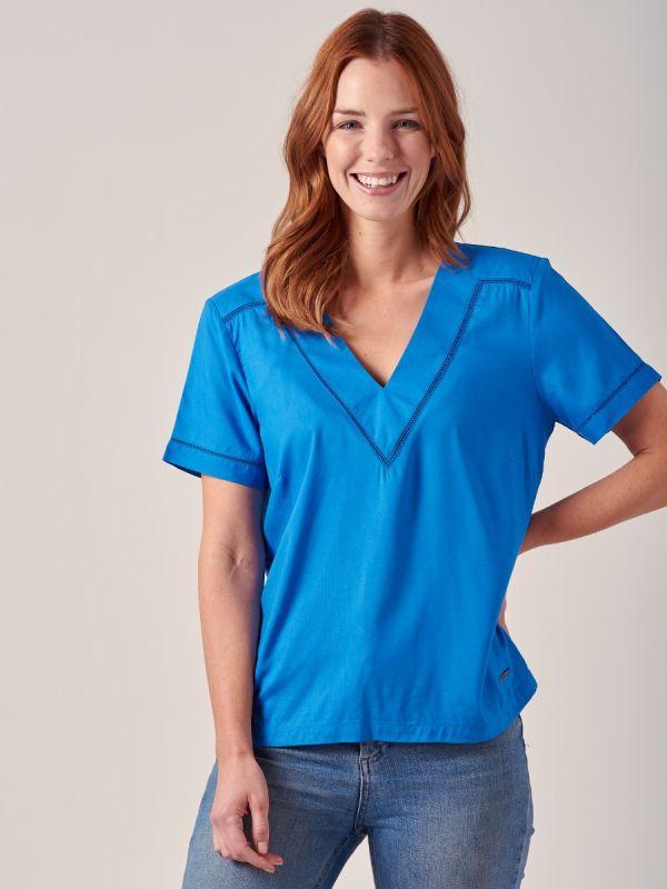 Josie CORNFLOWER BLUE Woven Top | Quba & Co