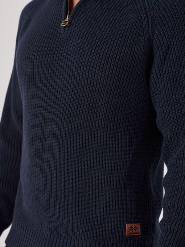 Kenton NAVY Zip Neck Jumper | Quba & Co