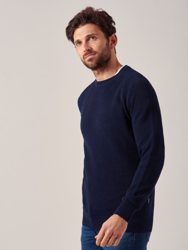 Kentish NAVY Textured knit Jumper | Quba & Co