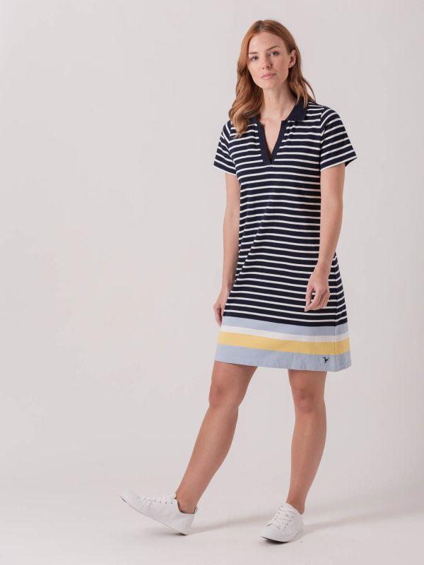 Larch NAVY WHITE STRIPE Polo Jersey Dress | Quba & Co