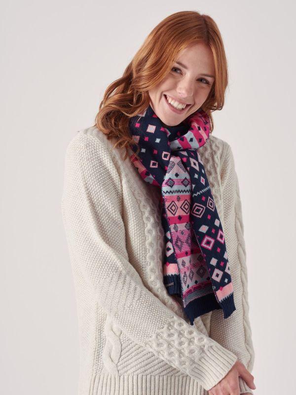 Leonie BLUE Fair Isle Knitted Scarf | Quba & Co