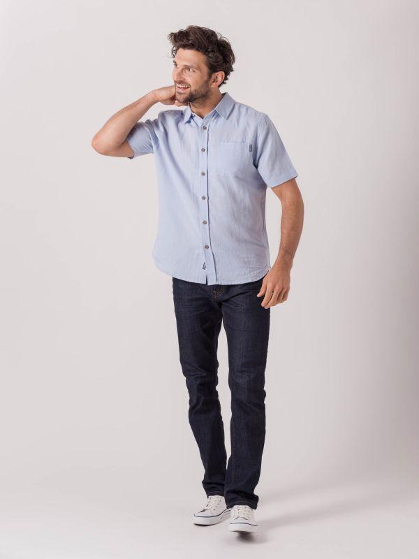 Lion PALE BLUE Short Sleeve Shirt | Quba & Co