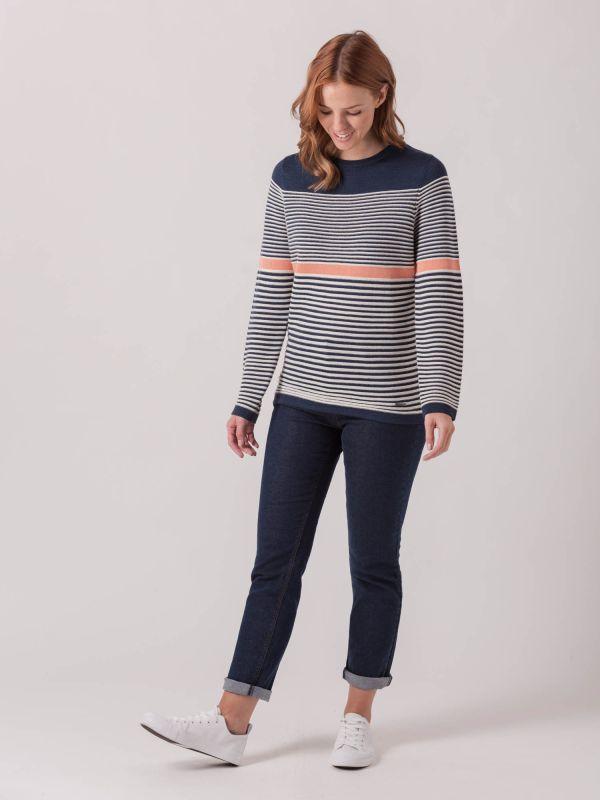 Lobelia NAVY Contrast Stripe Jumper | Quba & Co