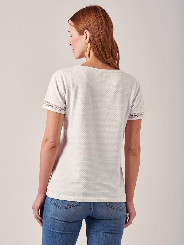 Loren WHITE Lace Trim T-Shirt | Quba & Co