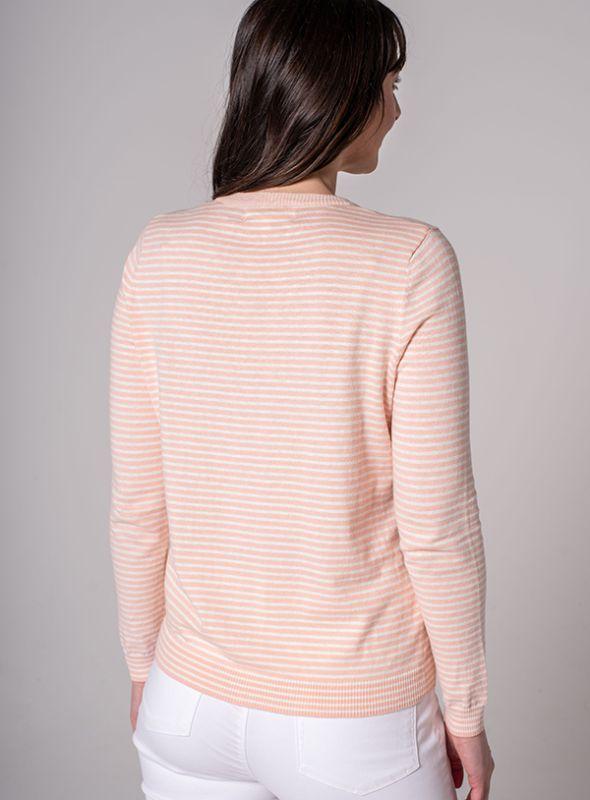 Lotus Striped Jumper - Peony Pink   Quba & Co Knitwear