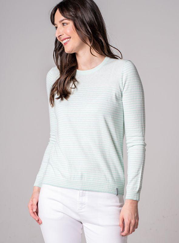Lotus Striped Jumper - Splash Green   Quba & Co Knitwear