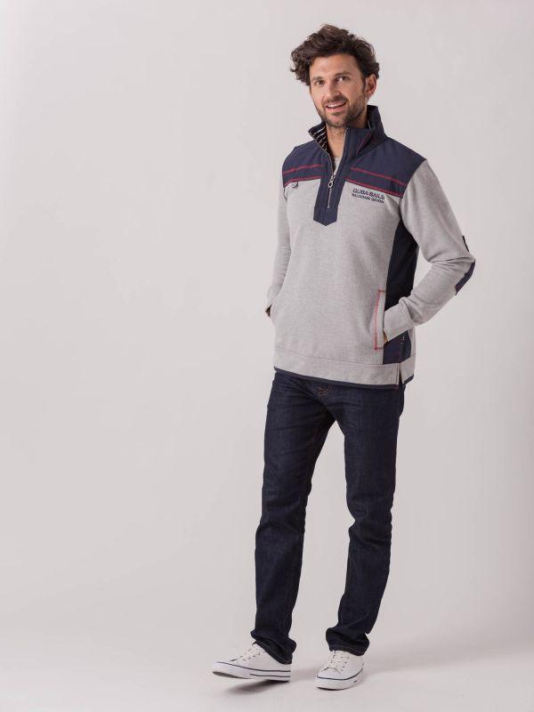 Lumper X-Series GREY NAVY Half Zip Sweatshirt   Quba & Co