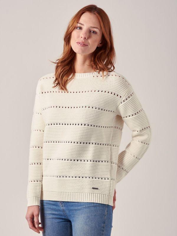 Mariana WHITE Textured Knit Jumper | Quba & Co